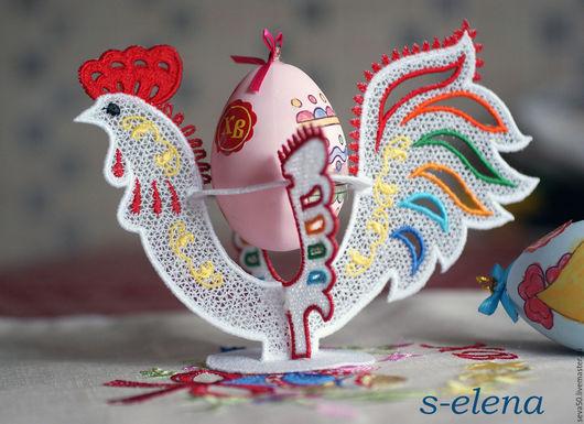Вышивка ручной работы. Ярмарка Мастеров - ручная работа. Купить Дизайн машинной вышивки Петушок кружевной-подставка для яиц. Handmade.