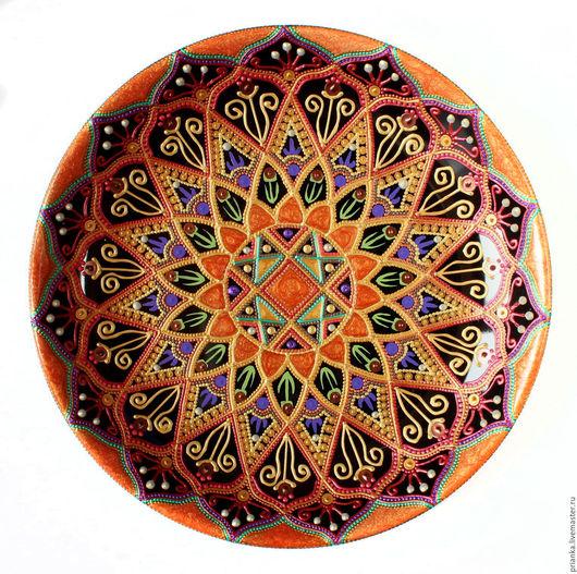 Декоративная посуда ручной работы. Ярмарка Мастеров - ручная работа. Купить Апельсинка. Декоративная тарелка в технике точечной росписи.. Handmade.