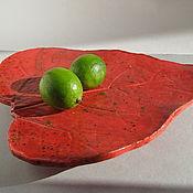 """Посуда ручной работы. Ярмарка Мастеров - ручная работа Большое блюдо """"Красный лист катальпы"""". Handmade."""