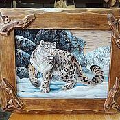 Картины ручной работы. Ярмарка Мастеров - ручная работа Картина из бересты «Снежный барс». Ручная работа. Handmade.