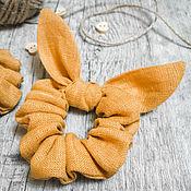 Украшения handmade. Livemaster - original item Fabric volumetric elastic band for hair Molinia mustard color. Handmade.