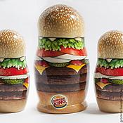 """Русский стиль ручной работы. Ярмарка Мастеров - ручная работа промо матрёшка """"Burger King"""". Handmade."""
