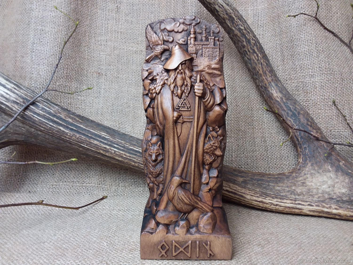 Wooden statuette of Odin, the Norse God, Figurines, Moscow,  Фото №1