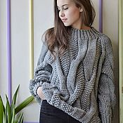 Одежда handmade. Livemaster - original item Sweaters: women`s knitted oversize sweater in a nice gray color. Handmade.