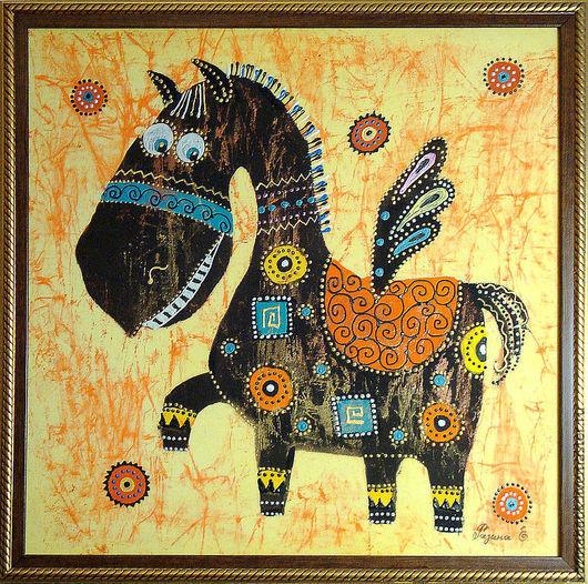 """Этно ручной работы. Ярмарка Мастеров - ручная работа. Купить Весёлое этно""""Пегасик"""" (батик панно). Handmade. Черный, Пегас, лошадь"""