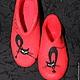 Обувь ручной работы. Черные кошки. Алевтина Калинина. Интернет-магазин Ярмарка Мастеров. Домашние тапочки, подарок девушке