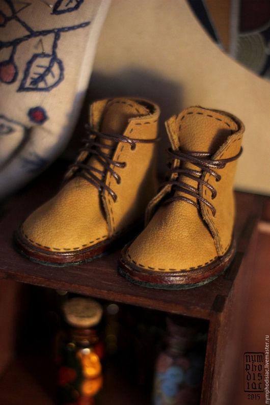 Одежда для кукол ручной работы. Ярмарка Мастеров - ручная работа. Купить Ботинки для бжд кукол. Handmade. Ботинки, бжд, кожа