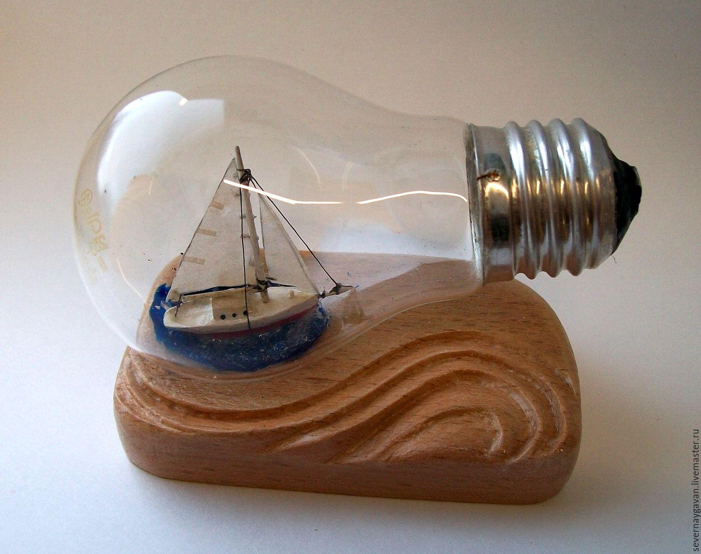 """Купить кораблик """"мечта"""" - кораблик, бутылка, парусник, падарок, сувенир, морская тема, миниатюра, лампочка"""