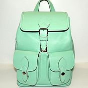Сумки и аксессуары handmade. Livemaster - original item Backpack leather women`s green