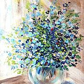 """Картины и панно ручной работы. Ярмарка Мастеров - ручная работа Картина-миниатюра """"Нежные цветы лета"""", 18 х 24 голубой букет синий. Handmade."""