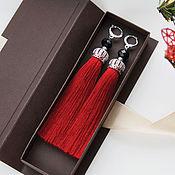 Украшения handmade. Livemaster - original item Red tassels earrings with crowns. The LUX collection. Earrings. Handmade.