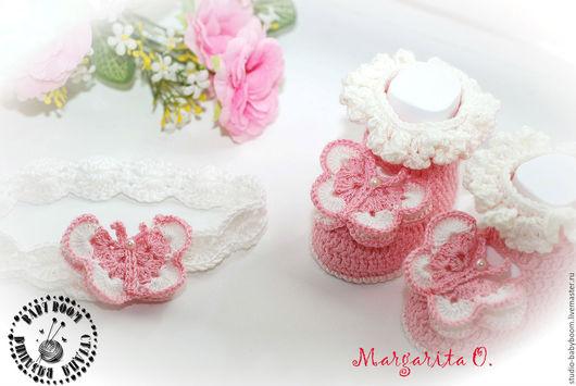 """Для новорожденных, ручной работы. Ярмарка Мастеров - ручная работа. Купить Пинетки """"Бабочки"""", пинетки для девочки. Handmade. Пинетки"""