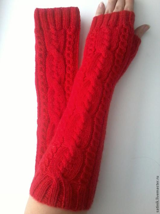 Варежки, митенки, перчатки ручной работы. Ярмарка Мастеров - ручная работа. Купить Митенки красные 159. Handmade. Митенки