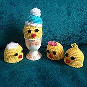 Подарки к праздникам ручной работы. Ярмарка Мастеров - ручная работа Цыплята-шапочки для яиц. Handmade.