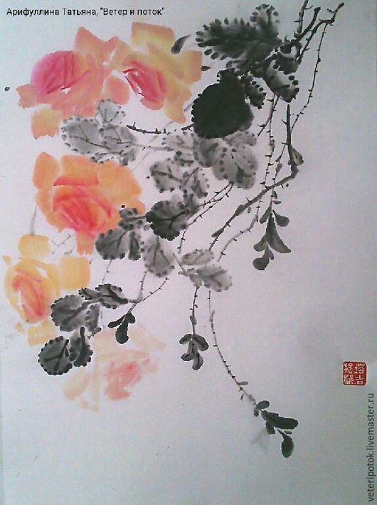 Картины цветов ручной работы. Ярмарка Мастеров - ручная работа. Купить картина на рисовой бумаге Чайная роза. Handmade. гохуа