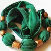 Зеленая сказка шелковые текстильные бусы из шелка ручного окрашивания