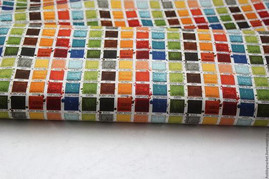 Шитье ручной работы. Ярмарка Мастеров - ручная работа. Купить Ткань хлопок Разноцветные квадраты. Handmade. Ткань для творчества, творчество