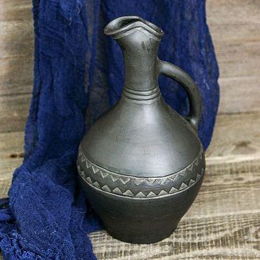 Посуда ручной работы. Ярмарка Мастеров - ручная работа Доки: грузинский чернолощеный глиняный кувшин для крепких напитков. Handmade.
