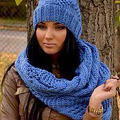 Аксессуары handmade. Livemaster - original item Knit set cowl and hat! cornflower!. Handmade.
