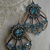 Украшения ручной работы. Ярмарка Мастеров - ручная работа Голубые серъги с кристалами. Handmade.