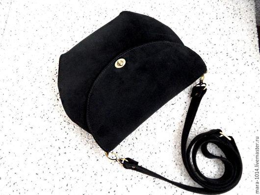 Женские сумки ручной работы. Ярмарка Мастеров - ручная работа. Купить ЧЕРНЫЙ БАРХАТ замшевая черная смочка на подкладке из красной замши. Handmade.