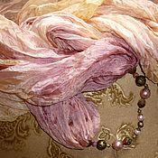 """Аксессуары ручной работы. Ярмарка Мастеров - ручная работа """"Розовый кварц""""снуд шёлковый.200-115см.Натуральный шёлк, трнсформер.. Handmade."""