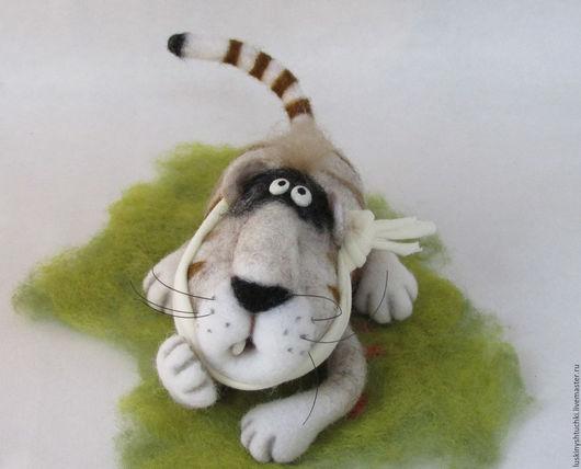 Игрушки животные, ручной работы. Ярмарка Мастеров - ручная работа. Купить Тигра. Handmade. Бежевый, зуб, животные из шерсти, с когтями