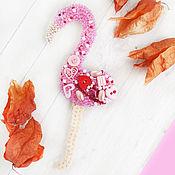 Украшения handmade. Livemaster - original item Brooch beaded Flamingo. Handmade.