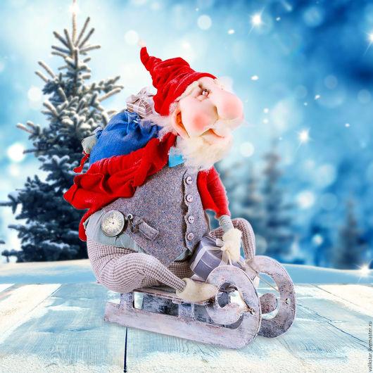 Коллекционные куклы ручной работы. Ярмарка Мастеров - ручная работа. Купить Дед Мороз спешит на праздник. Handmade. Комбинированный
