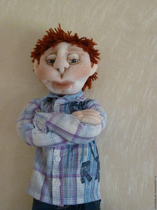 Коллекционные куклы ручной работы. Ярмарка Мастеров - ручная работа. Купить Авторская текстильная кукла Федор. Handmade. Синий, капрон