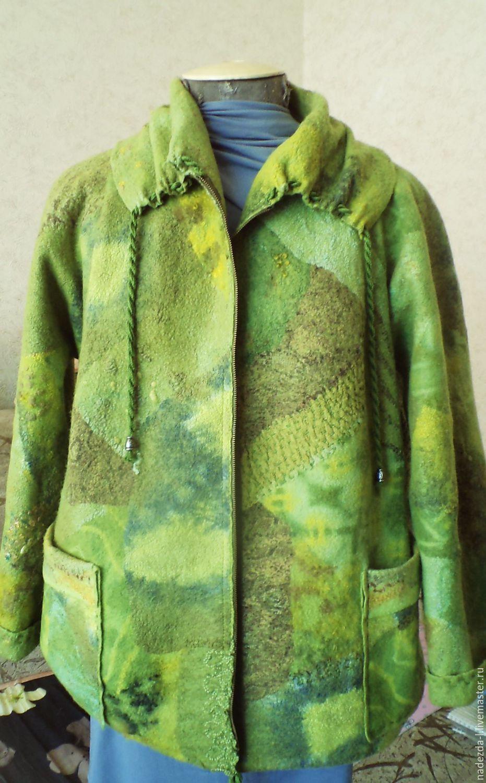 Jacket felted ' Green noise....!!', Outerwear Jackets, Belovo,  Фото №1
