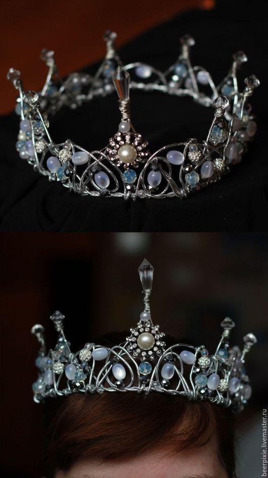 Диадемы, обручи ручной работы. Ярмарка Мастеров - ручная работа. Купить Белая корона. Handmade. Белый, корона для девочки, для фотосессии