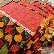"""Для дома и интерьера ручной работы. Ярмарка Мастеров - ручная работа """"Фрукты"""" - 4 cалфетки для сервировки, ланчматы. Handmade."""