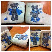 """Обувь ручной работы. Ярмарка Мастеров - ручная работа Тапки-валенки домашние """"Мишки Тэдди"""". Handmade."""