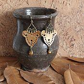 Украшения handmade. Livemaster - original item earrings: Long leather earrings Bronze age. Handmade.