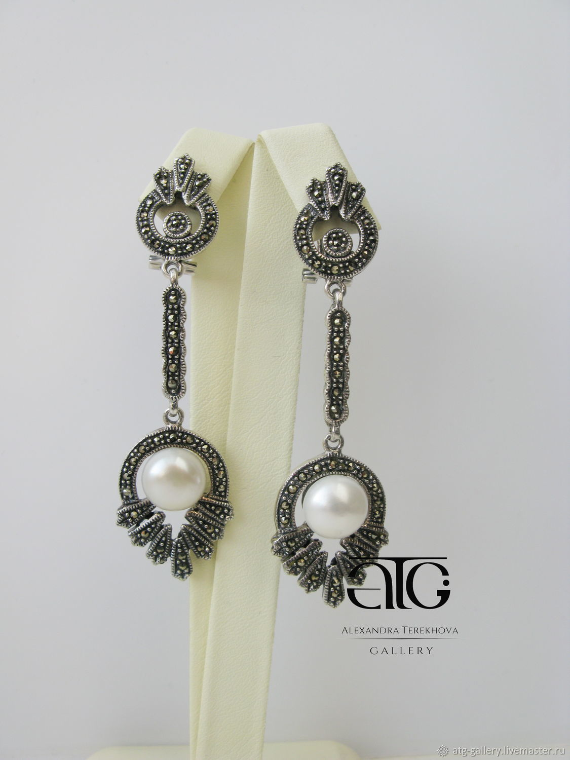 Long Earrings With Natural Large Smooth White Freshwater Pearls Very Beautiful