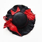 """Украшения ручной работы. Ярмарка Мастеров - ручная работа цветы из кожи,брошь из кожи""""Шляпка"""" украшение. Handmade."""