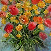 Картины и панно handmade. Livemaster - original item Painting summer bouquet with yellow flowers in a vase oil on canvas. Handmade.