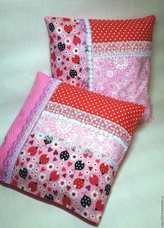 """Текстиль, ковры ручной работы. Ярмарка Мастеров - ручная работа. Купить Комплект из 2 подушек """"В розовых очках..."""". Handmade."""