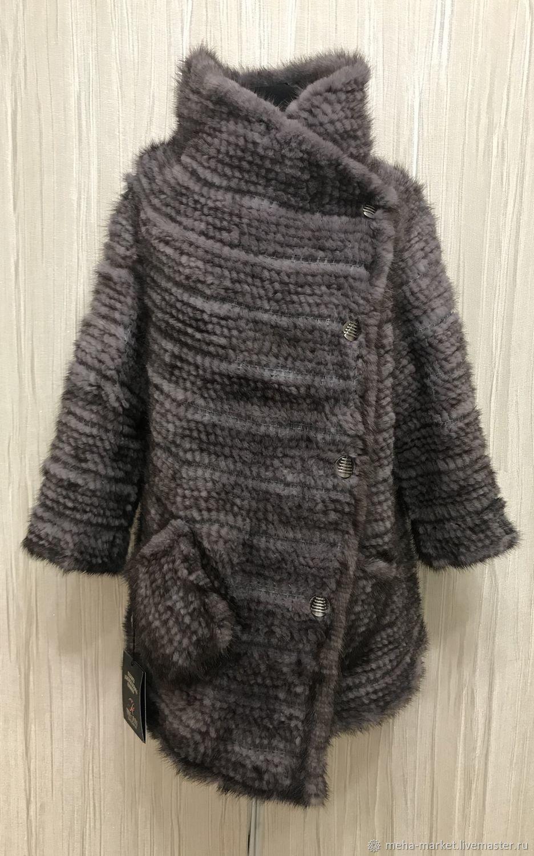 Пальто  из вязаной норки `Трансформер GRAY` 2018