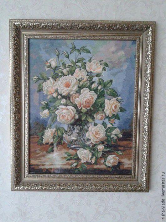 Картины цветов ручной работы. Ярмарка Мастеров - ручная работа. Купить Белые розы    золотое руно. Handmade. Подарок для души