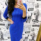 Платья ручной работы. Ярмарка Мастеров - ручная работа Платье гусиная лапка синяя. Handmade.
