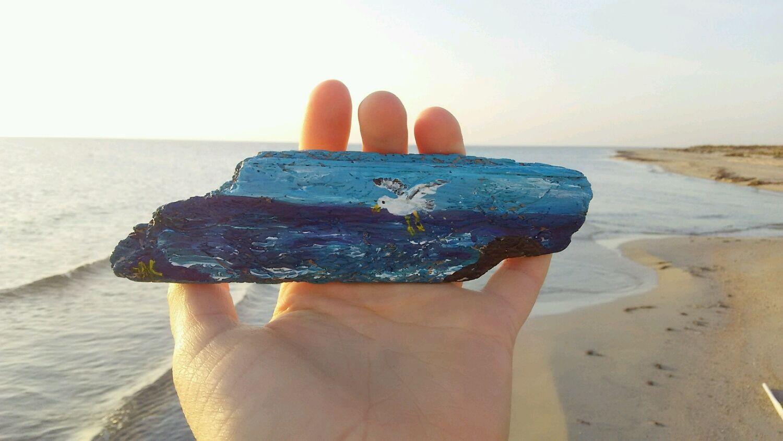 Магнит из дрифтвуда чайка над морем, Магниты, Евпатория,  Фото №1