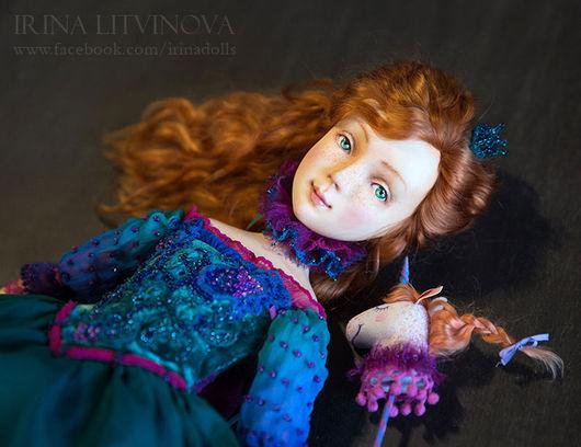 Коллекционные куклы ручной работы. Ярмарка Мастеров - ручная работа. Купить Маруся и Единорог. Handmade. Тёмно-бирюзовый, кукла из паперклея