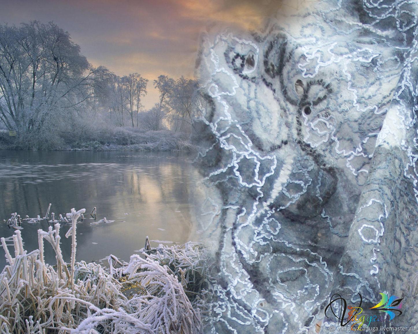 stole frosty river, felt, Studio, rainbow, Studio rainbow, Victoria, woolen stole, stole, felted, soft tippet, thin felt, felted stole, stole beautiful stole
