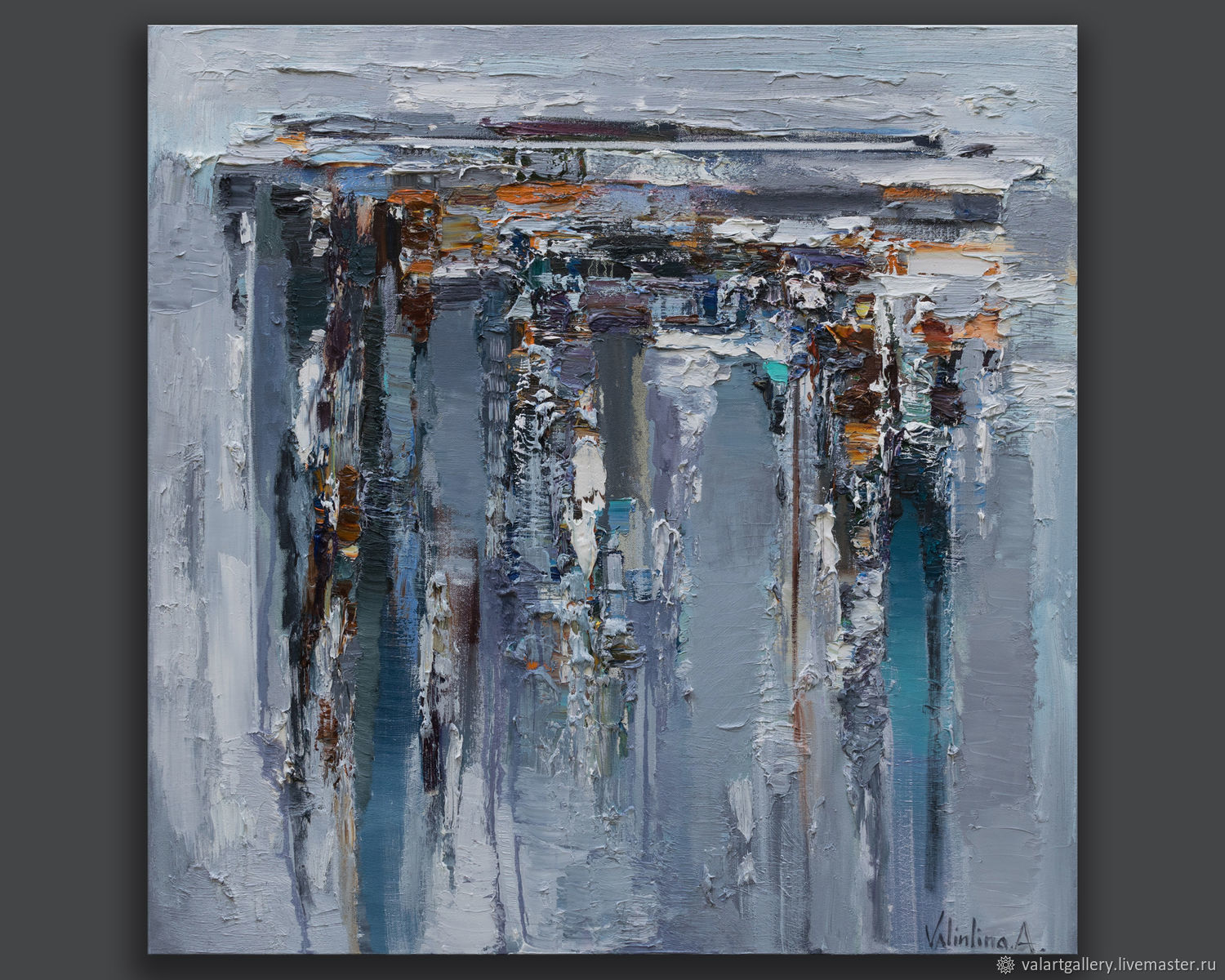 Gray Abstract  Oil Painting - 90 x 90 cm - Original  painting, Pictures, Anapa,  Фото №1