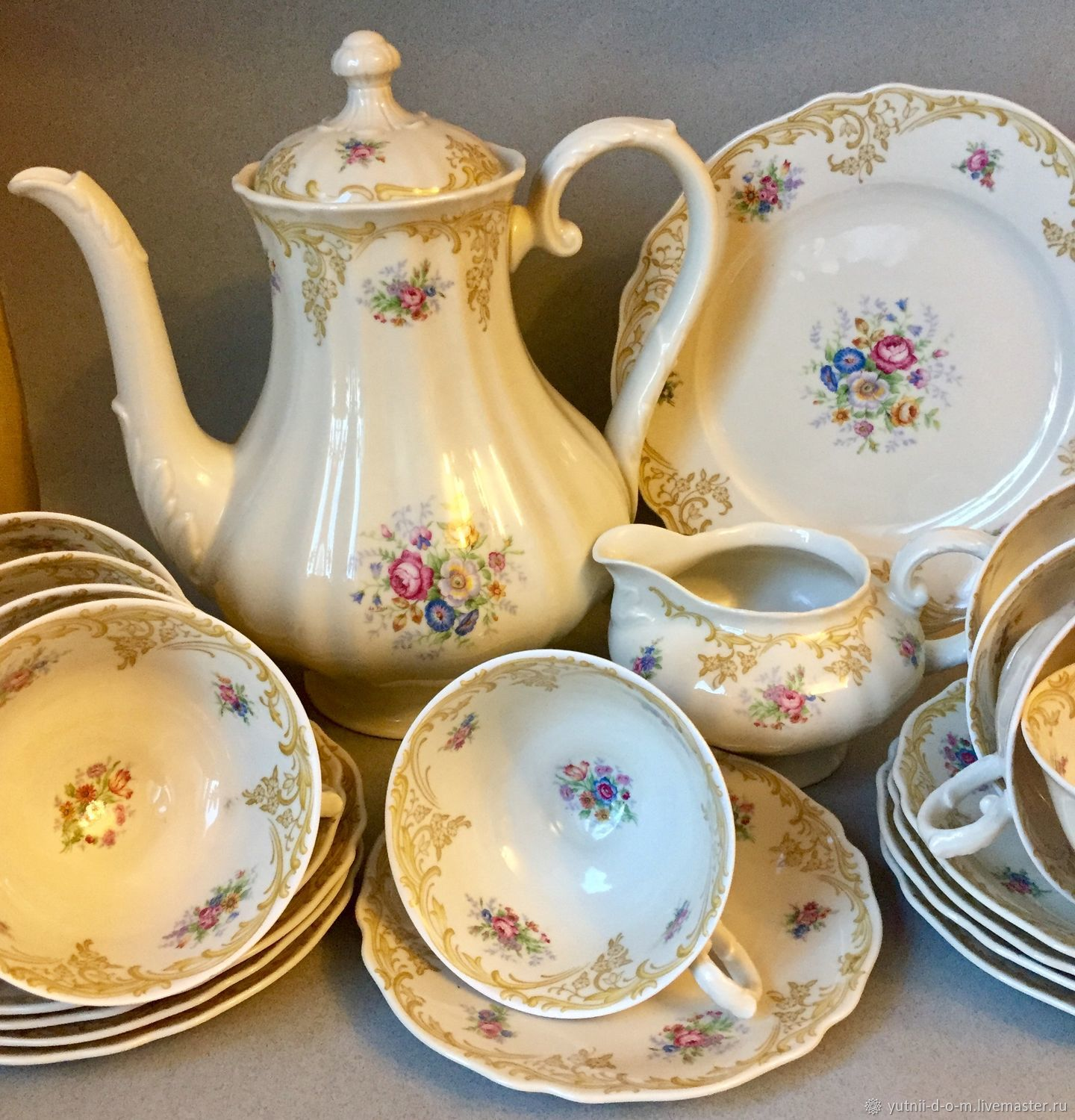 Vintage Tea Set A Set A Set Of 7 Persons Krautheim Astrid Flowers