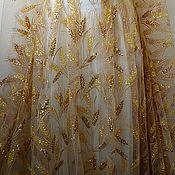 Материалы для творчества handmade. Livemaster - original item Embroidery on mesh sequins. Golden spikelets. Handmade.