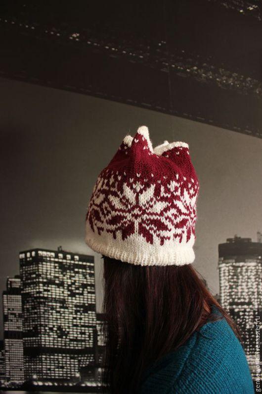 """Шапки ручной работы. Ярмарка Мастеров - ручная работа. Купить шапка """"Норвежка"""" ручная вязка утепленная. Handmade. Бордовый"""