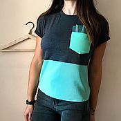 Одежда handmade. Livemaster - original item T-shirt mint with pocket. Handmade.